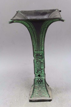 "11"" Old Chinese Bronze Ancient Dragon Beast Zun Flower Vase Bottle Pot Jar Crock"