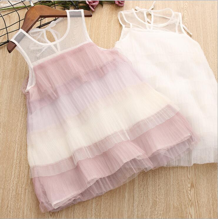 summer new fashion kids girls sleeveless rainbow color dress children layered pleated princess lace dress children clothing new girls dress brand summer clothes ice cream print costumes sleeveless kids clothing cute children vest dress princess dress