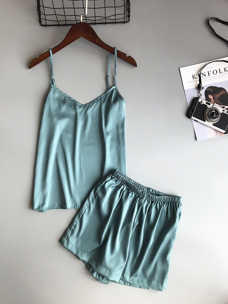 Ice Silk Twinset Korean Solid Color Women Pajamas Camisole Pajama Set Woman Summer Vest Shorts Suit