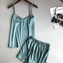 Ice Silk Twinset Korean Solid Color Women Pajamas Camisole Pajama