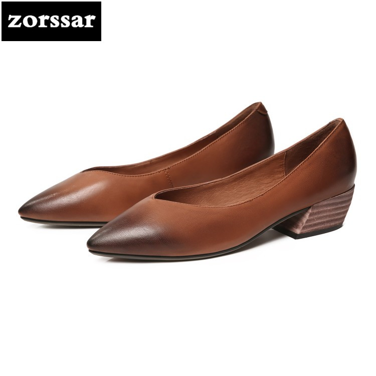 {Zorssar} 2018 New arrival Genuine leather fashion Retro Women shoes pointed toe High heels pumps shoes womens Grandma shoes
