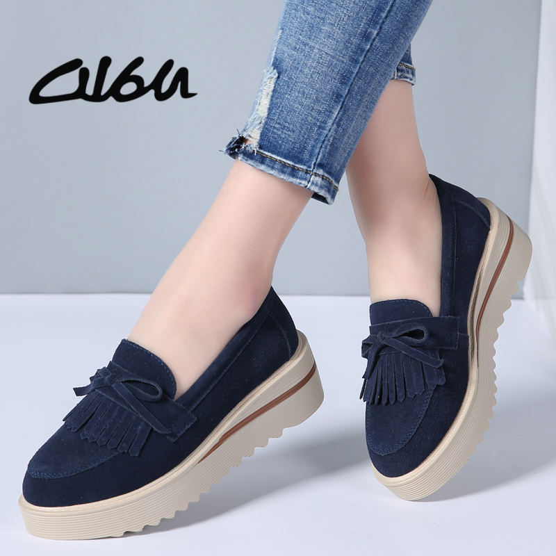 O16U 2018 Spring Women Flat Platform Shoes Suede Leather Tassel Loafers Slip on Casual Shoes Women Moccasins Ladies Creepers suede