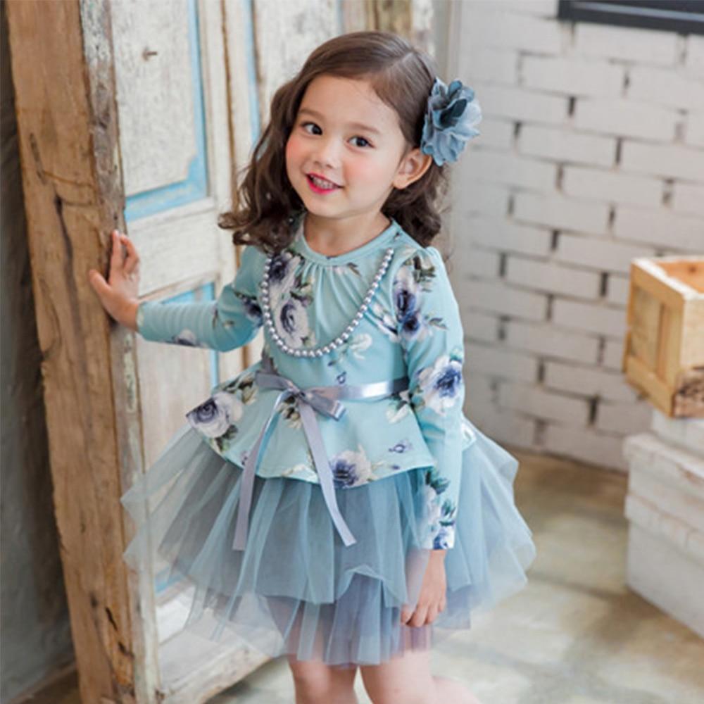 2017 Winter Baby Kids Party Birthday Flower Dress For School Girls ...