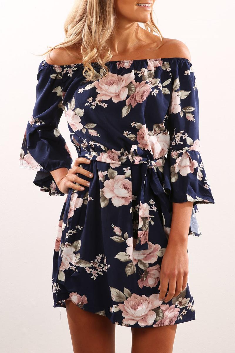 ELSVIOS Sexy Off Shoulder Slash Neck Office Dress 2017 Summer Floral Print Beach Dress Casual Flare Sleeve Women Dress Vestidos 2