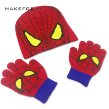 bfebdab03e5 MAKEFGE autumn children s knit hats boys girls spiderman warm baby caps  winter Beanie