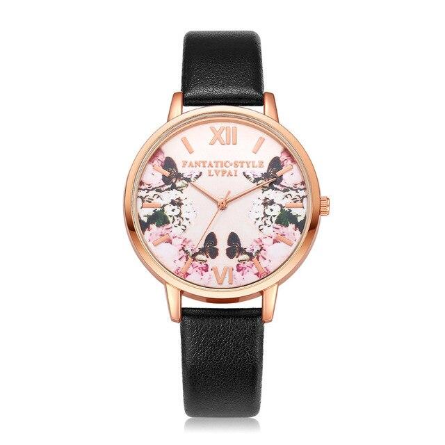 Lvpai Brand Women Bracelet Watch Fashion Rose Gold Flower Leather Simple Women D