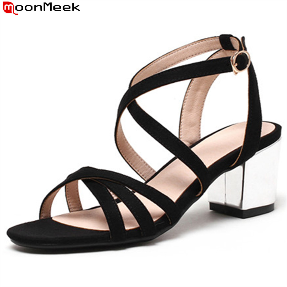 MoonMeek black fashion summer new 2018 shoes woman buckle simple ladies high heel sandals thick heel big size 33-43 odetina 2017 new fashion peep toe t strap sandals thick high heel platform buckle ladies square heel shoes summer big size 33 43