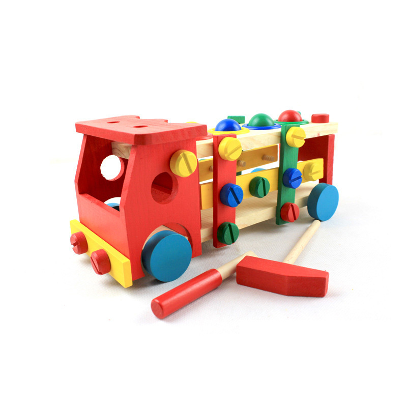 OUY Wooden Disassembly Screw Car Project Nut Car Toy Variety Nut Combination Children's Puzzle Assembled Building Blocks