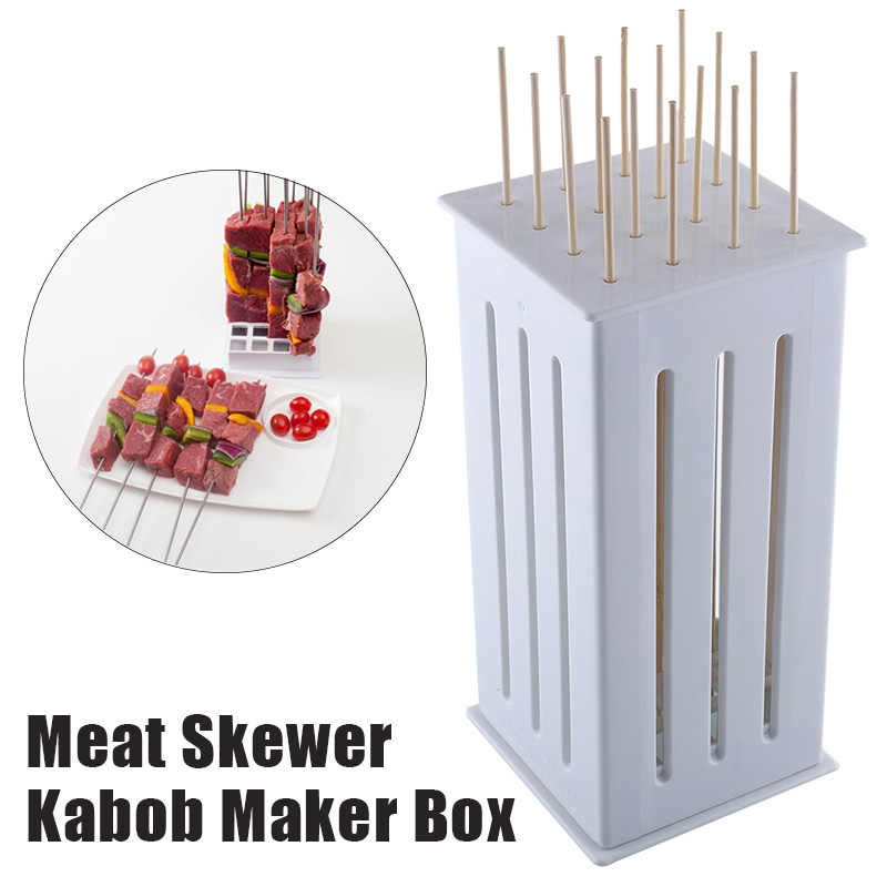 16 Hole Portable Bamboo BBQ Kabob Shish Maker Skewers Grill Meat Cutter Spiedini Kebab Making Box Barbecue Accessories Tools