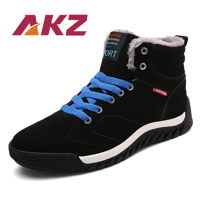 AKZ 2018 New Fashion Winter Warm Snow boots High Quality suede Ankle Boots for man Male Work shoes Round toe Big size 39-48 цена