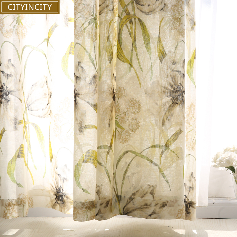 CITYINCITY Floral American Curtains For Living Room Voile Burnt Out Sheer  Kitchen Curtain For Bedroom Window Curtain Customized