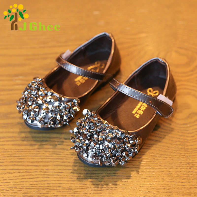 J Ghee 2017 Fashion Girls Shoes Kids Single Shoes Shiny Rhinestone Sequins Children s Sneakers Casual