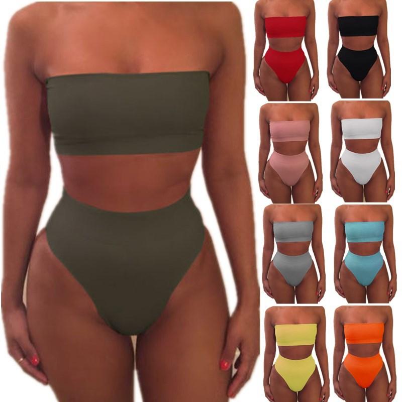 2019 Women Solid Push Up   Bra     Set   2pcs Off Shoulder Swimsuit Swimwear Hot Sales Sexy Bikinis drop shipping