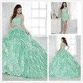 Luxo Chic strass bola rendas vestidos em camadas Ruffles Prom vestidos com Removalbe trem brilhante de cristal 2 peças longo vestido de baile