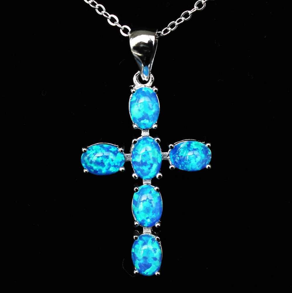 Fajny chrześcijański wzór w krzyże biały/niebieski naszyjnik z opalem ognistym