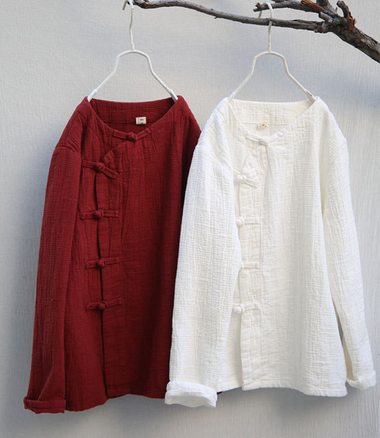 fc3ad9712 Retro Slant Frog Button Full Sleeve Soft Medium-Thick Women Cotton Linen  Blouse, Spring Autumn Comfortable Textured Loose Shirts