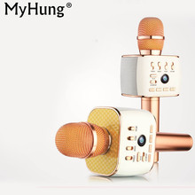 Rechargeable Bluetooth Speaker Microphone Wireless Car Sing Karaoke Microphones Bluetooth audio For IPhone IOS Android