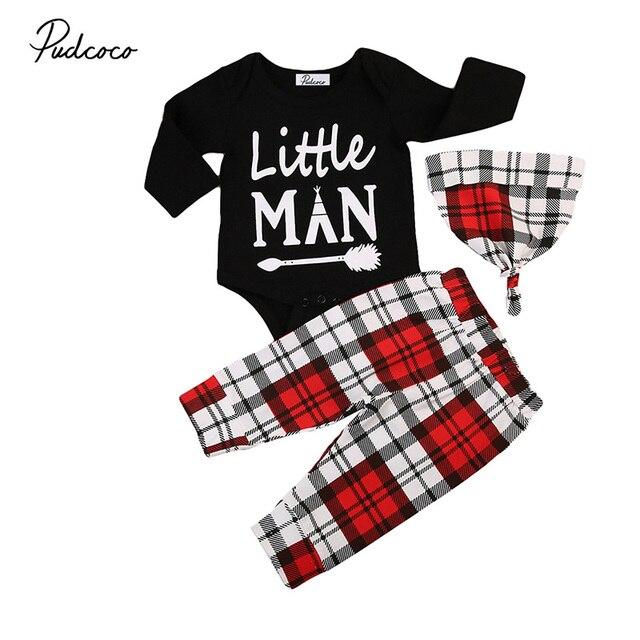 3 STÜCKE Neugeborene Baby bekleidung Set Langarm Kleine Mann Schwarz ...