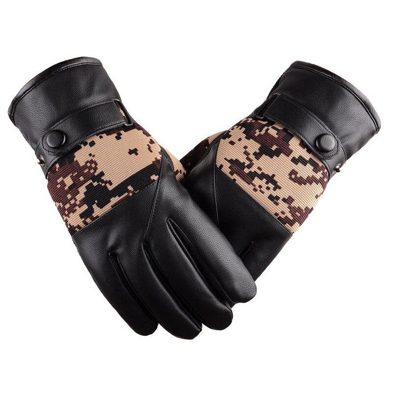 Winter Gloves Men Thicken Warm PU Leather Thermal Mittens gants homme Sreen Touch Gloves Camo Anti Slip Skiing mittens For Men