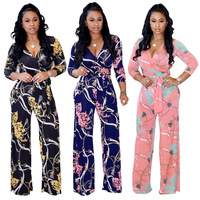 summer Sexy v neck Long Sleeve Printing wide leg rompers womens jumpsuit body streetwear plus size floral ladies jumpsuits