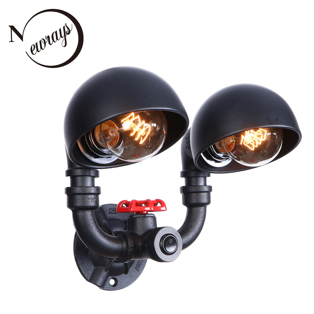 American style vintage iron black painted wall lamp E27 LED 220V 2 lights Water pipe sconce lights for living room bedroom study chandeliers lights led lamps e27 bulbs iron ceiling fixtures glass cover american european style for living room bedroom 1031