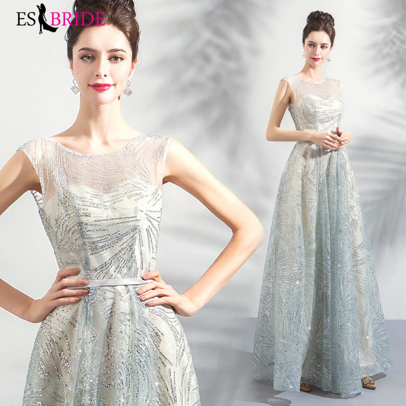 2019 Special Occasion   Dress   Vestidos De Fiesta De Noche Slive Lace Appliques   Evening     Dresses     Evening     Dress   Robe De Soiree ES2266
