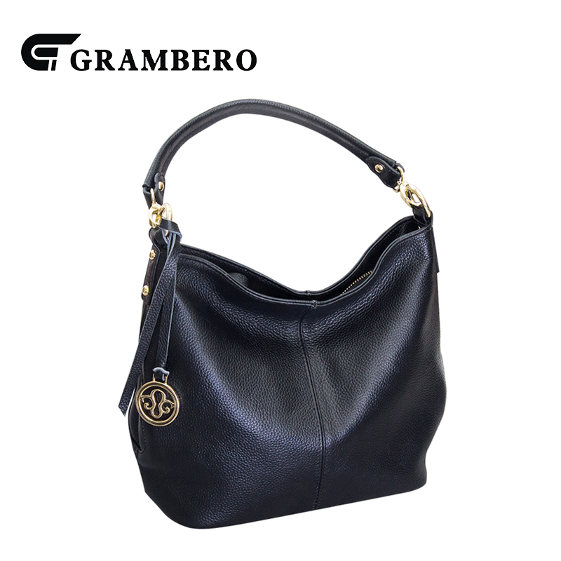 Korean Style Genuine Leather Bucket Bag Top Leather Solid Color Casual Top-handle Bags Women Shopping Handbag Shoulder Bags Gift 2018 new fashion top handle bags women cowhide genuine leather handbags casual bucket bags women bags rivet shoulder bags 836