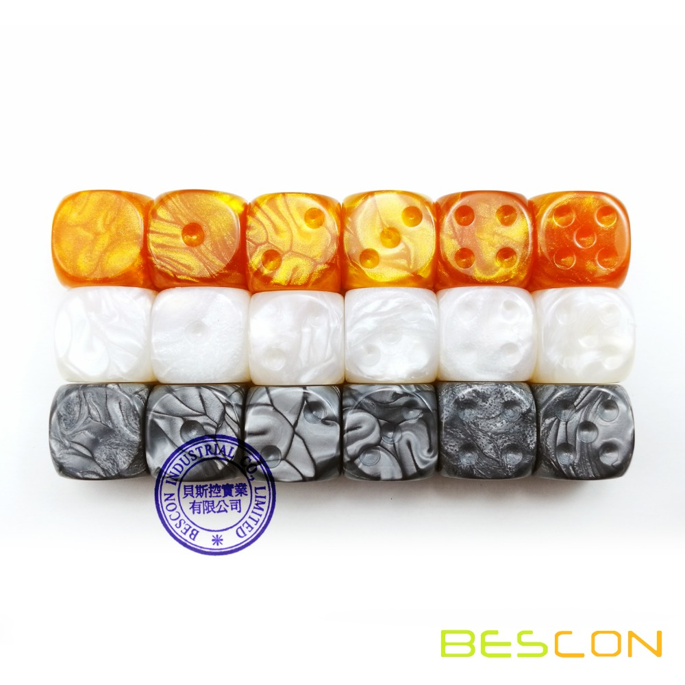 Bescon Raw Unpainted Marble <font><b>16MM</b></font> Game <font><b>Dice</b></font> with <font><b>Blank</b></font> 6th Side, 3 Assorted Color Set of 18pcs, <font><b>Blank</b></font> Marble <font><b>Die</b></font> image
