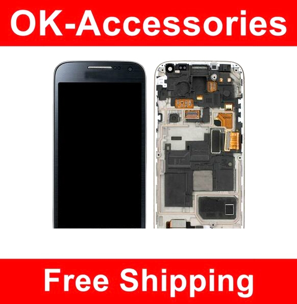 ФОТО For Samsung Galaxy S4 Mini i9190 i9195 LCD+Touch Screen Digitizer+Frame Blue Color 10PCS/Lot