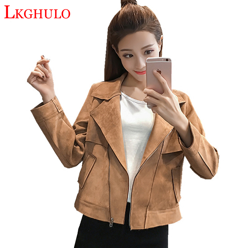 2018 Women   Suede     Leather   Jackets New Fashion Short Side Zipper Female Solid Faux   Leather   Coats Ladies Moto Biker Overcoat W339