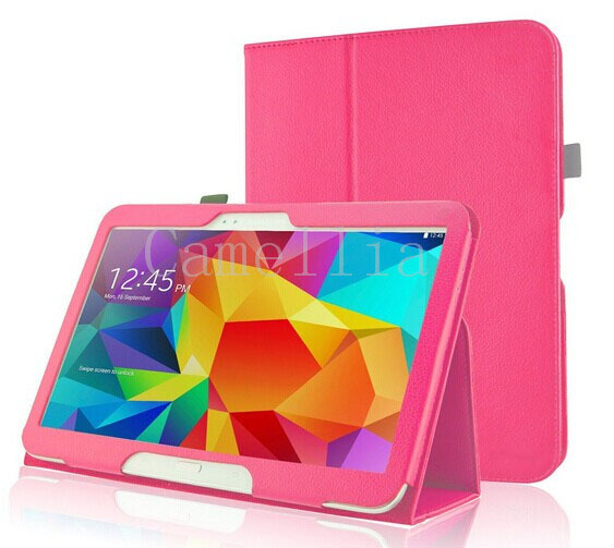 200Pcs/Lot Slim Folding Cover Case For Samsung Galaxy Tab4 10.1\'\' T530 Tablet(With Smart Cover Auto Wake / Sleep)