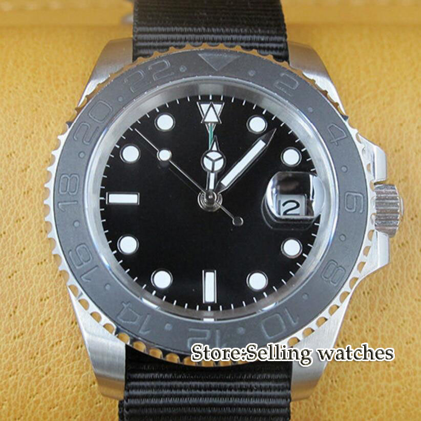 лучшая цена 40mm parnis black dial GMT ceramic bezel sapphire glass automatic mens watch