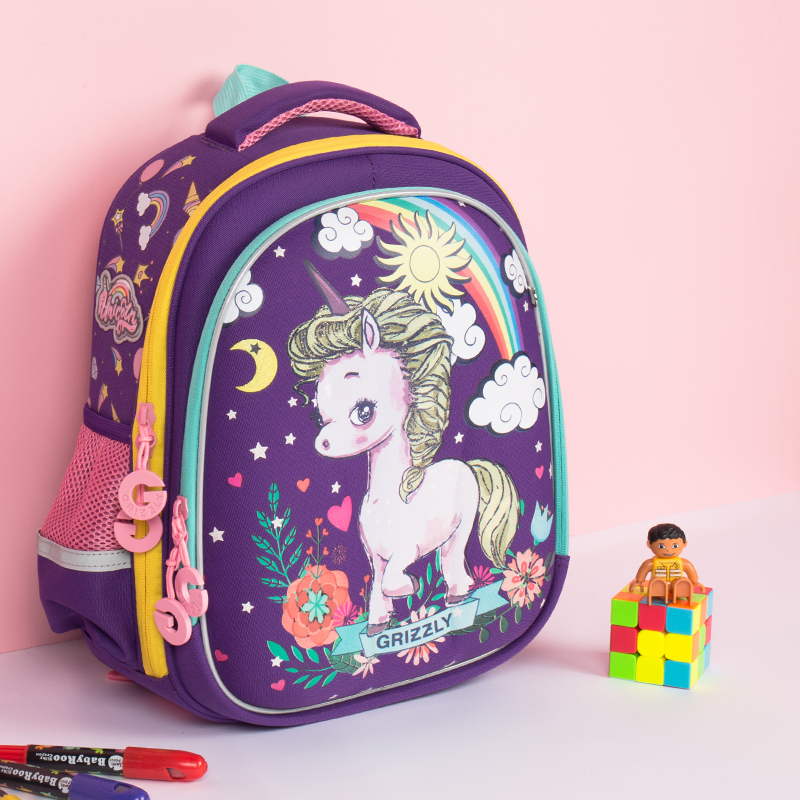 f8117a1f2608 Top-Quality Children School Backpacks Girls Cartoon Rainbow pony School  Bags Orthopedic Primary School Bookbag Kids Satchel