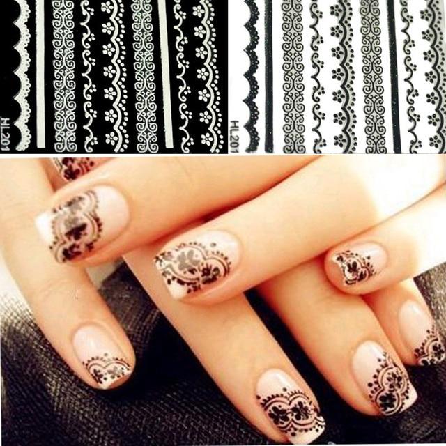 4Pcs/lot 3D Lace Nail Art Design Nail Stickers Black White