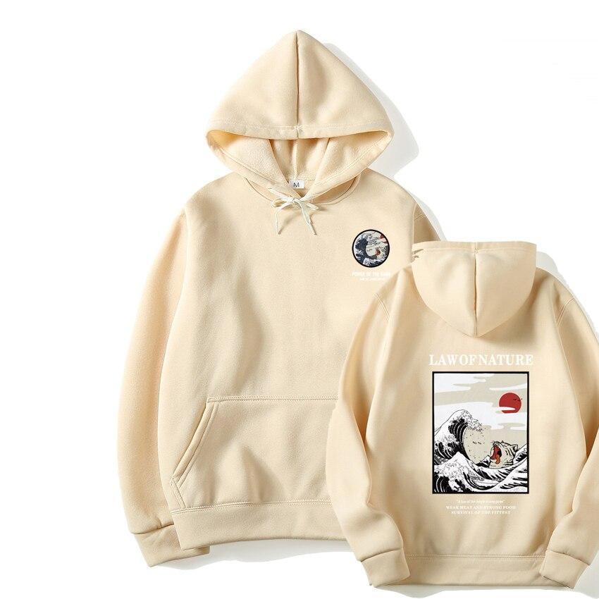Japanese Funny Cat Wave Fleece Hoodies Winter Style Hip Hop men/women Printed hoodie Casual printing Sweatshirts Streetwear 2