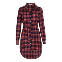 Plaid Vintage Women Blouse Shirt Button Bandage Feminine Blusa Irregular Hem Turn Down Collar Long Sleeve