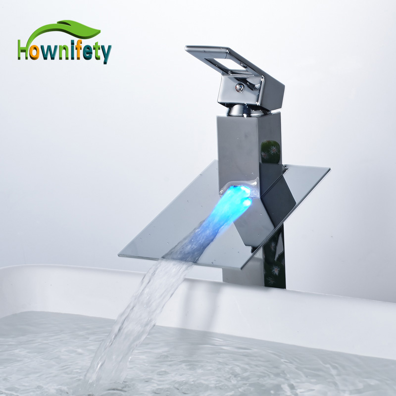 Chrome Polished LED waterfall Spout Bathroom Sink Faucet Single Handle Solid Brass Basin Mixer Tap Deck Mounted contemporary chrome bathroom sink tub faucet single handle waterfall spout mixer tap wall mounted