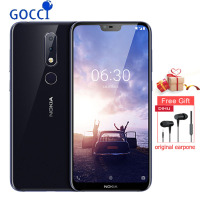 Nokia X6/6.1plus Mobile Phone 5.8 inch 18:9 FHD 6+64G Snapdragon 636 Octa Core 16.0MP+5.0MP Camera Fingerprint ID Smartphone