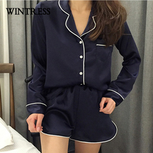 wintress winter solid women sleep pajamas sets  collar long sleeve top and hot shorts casual style home clothes