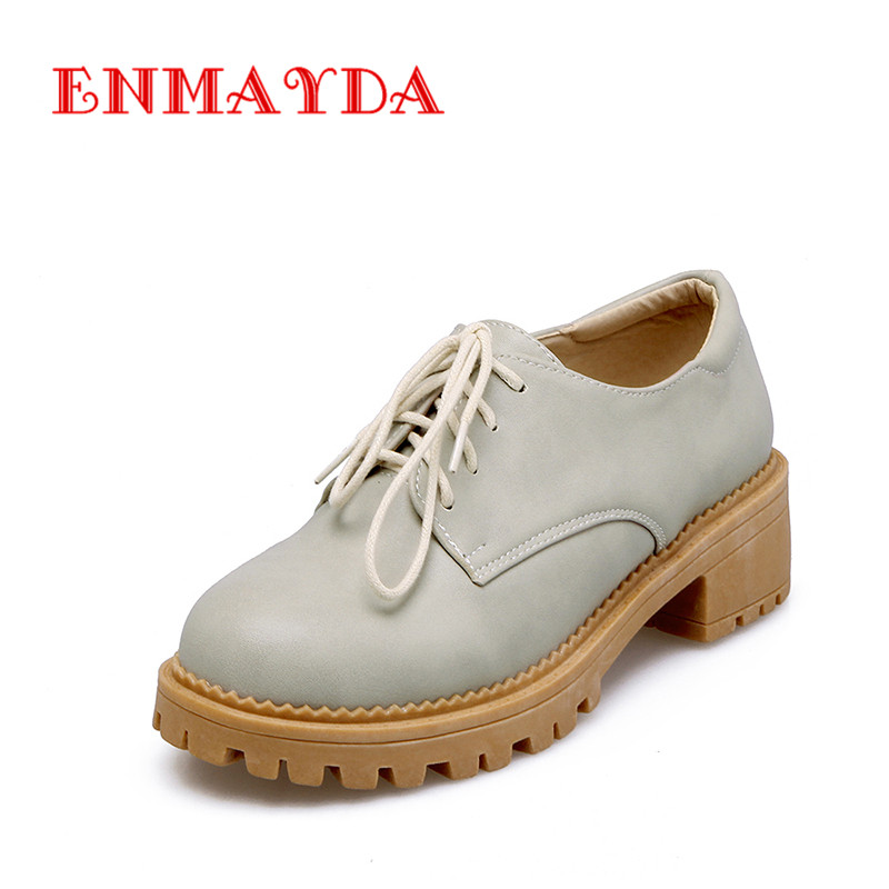 ФОТО ENMAYDA Lovely Round Toe Med Heels Sweet Style Lace-Up Platform Pumps Basic Cross-Tied Outside Casual for Woman Shoes Size 34-43