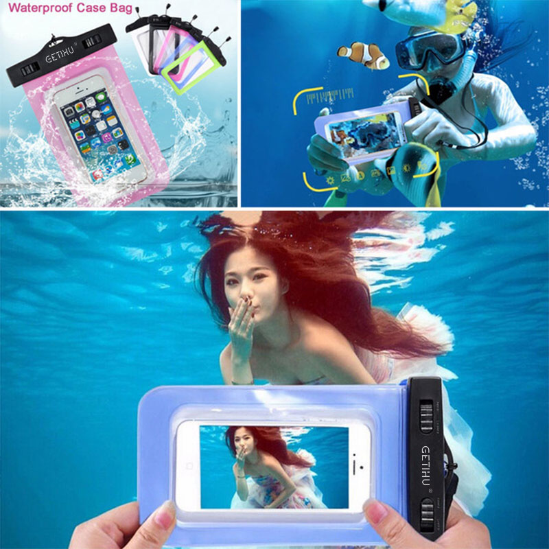 GETIHU Universal Sealed Waterproof Bag Pouch Phone Cases For iPhone Cellphone Smartphone Water Proof Case For