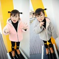 New baby girl coat children dress coat grey pink baby rabbit ear a lamb