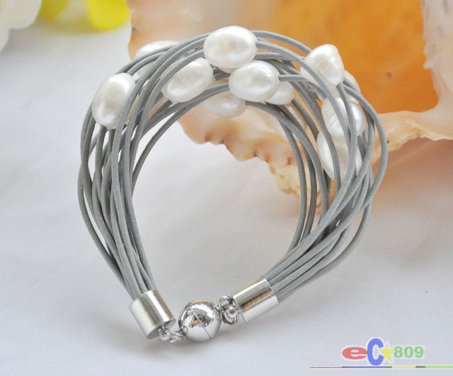"Selling Picture 15row 8"" 13mm white rice pearl gray leather bracelet"