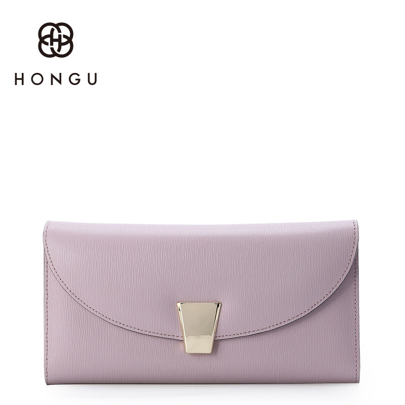 Hongu Women Genuine Leather Long Wallet Female for Women Evening bag Famous Brands Ladies Long Clutches With Coin Purses Holder free shipping new women s wallet cowhide genuine leather wallet for women famous brand wallet plaid shape hot cute women purses