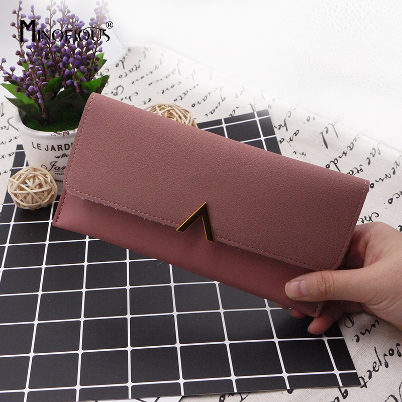 MINOFIOUS Women Matte Leather Wallet PU Leather Long Letter Purse Solid Patchwork Purse Hasp Lady Moneybags Money Wallet