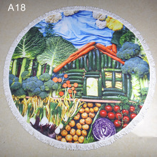 vegetable house round tapestry beach mandala towel blanket 2017 new design polyester wall hanging tapestry round