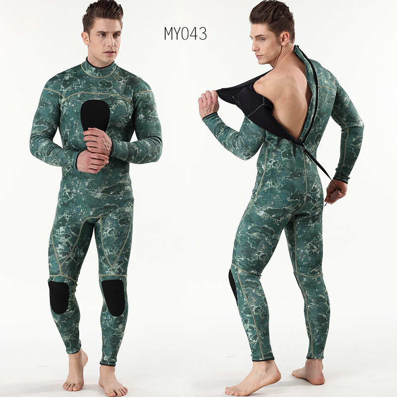 Mens spearfishing 3mm wetsuits Camouflage neoprene one piece scuba free diving suits with chest pad(China)