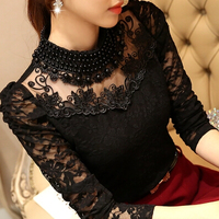 2015 New Sweet Fashion Women S Embroidery Lace Blouse O Neck Handmade Beaded Shirt