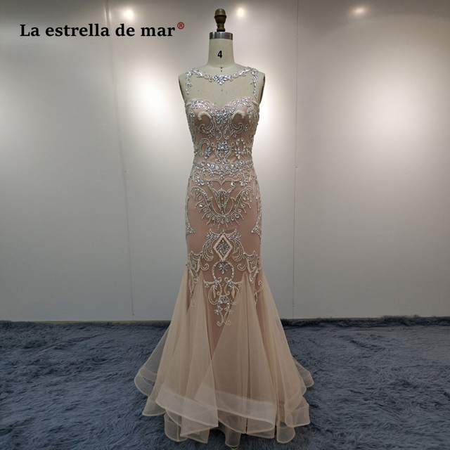 Vestido de formatura longo2018 new lace beaded sexy mermaid champagne prom dresses luxury abendkleider hot galajurken
