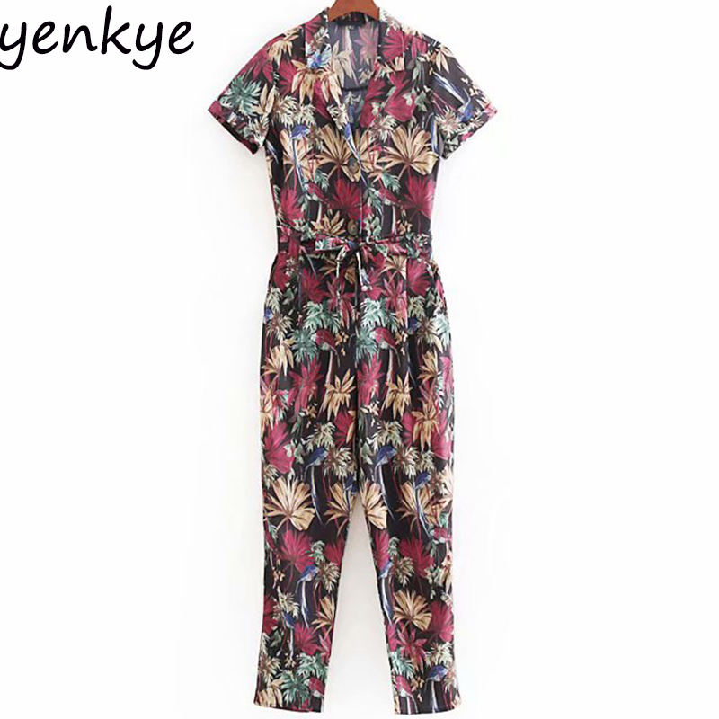 European Style Women Flowy Tropical Print Jumpsuit Female Turn-down Collar Short Sleeve With Belt Casual Rompers Womens Jumpsuit
